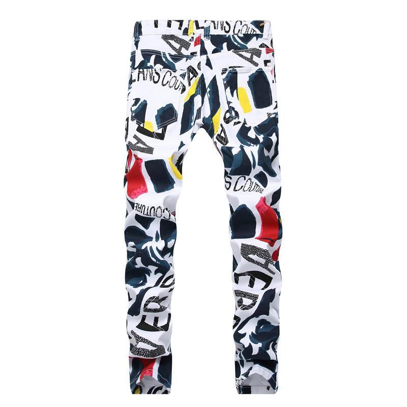 Men Designer Jeans Moda Hip Hop del modello lavato Stampa sbiancato lungo Distrressed Zipper Fly Etero Miscela del cotone Formato asiatico