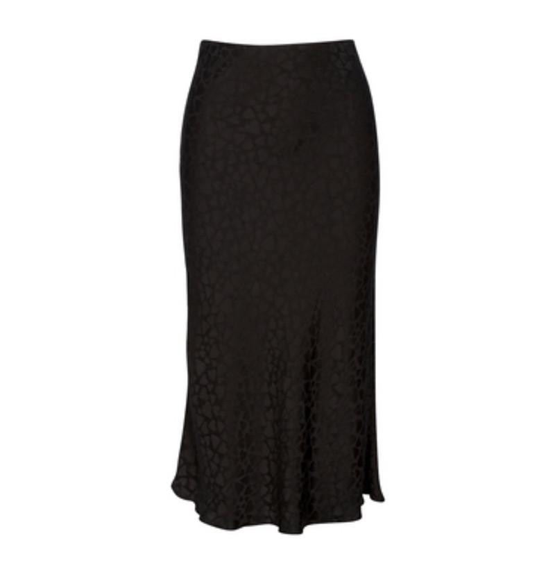 100% Silk The Naomi Romance Skirt Heart Icon Black 3/4 Length Slip Style Skirt
