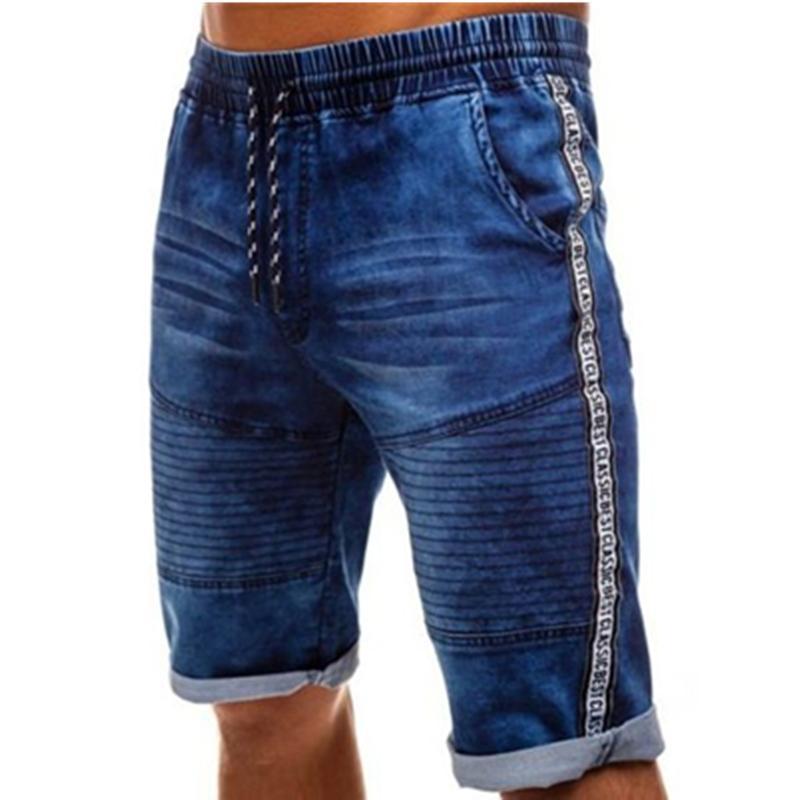 Cargo denim dei bicchierini del motociclista brevi jeans degli uomini Estate Uomo cordoncino elastico in vita Blu Wash Denim Blue Cargo Shorts