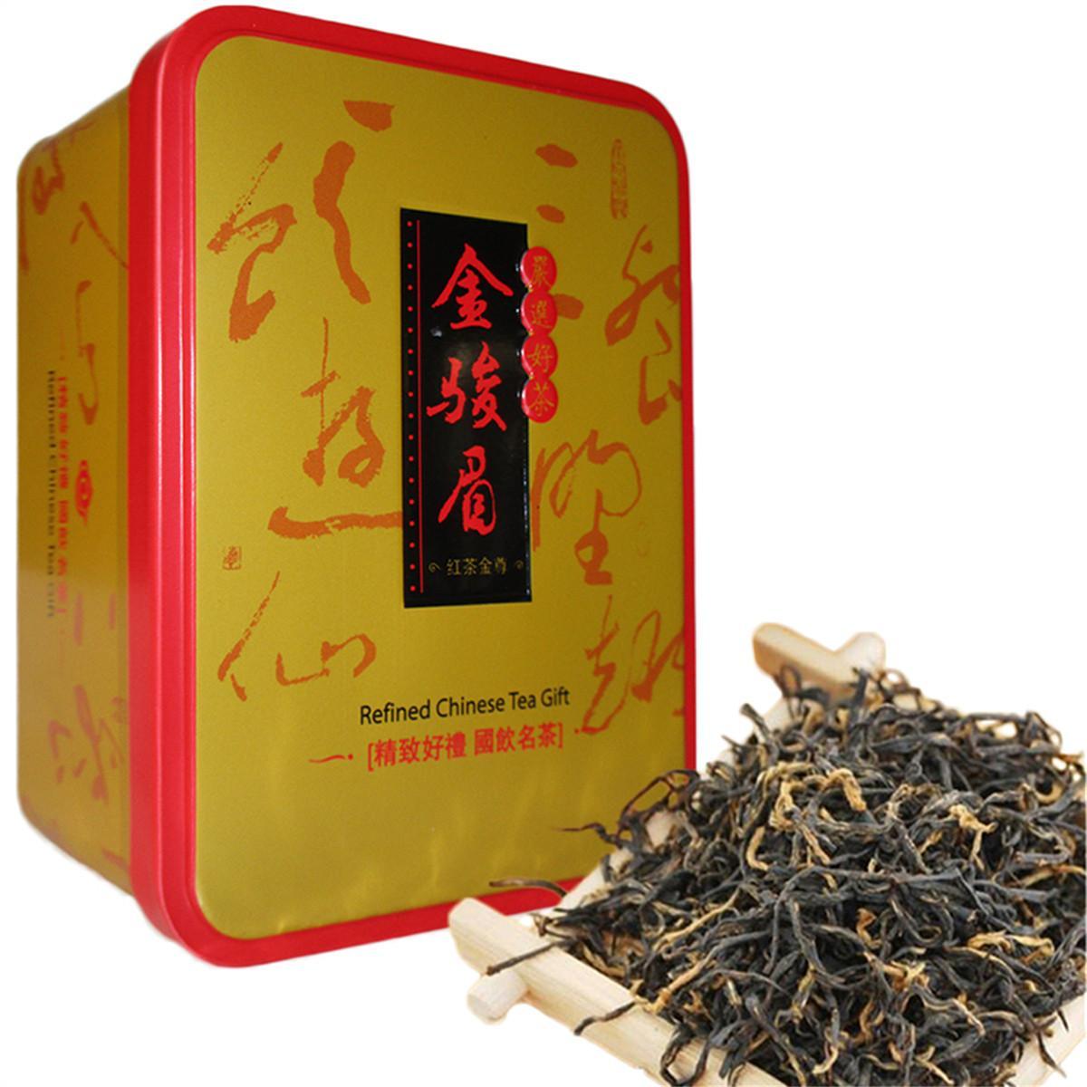 104g Negro chino de té orgánico Jinjunmei Kimchunmei Té Rojo Cuidado de la Salud Nueva cocido té verde de alimentos de hierro en caja de regalo del paquete