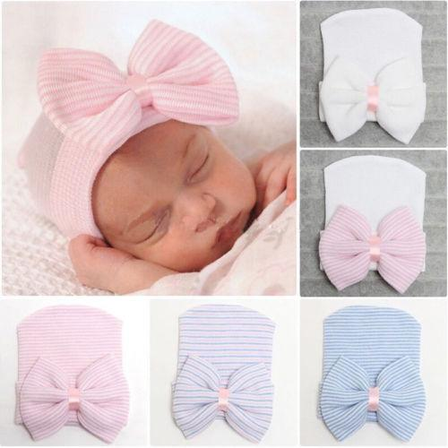 Lovely Infant Baby Girls Striped Cap Newborn Girl Soft Beanie Hat with Bow