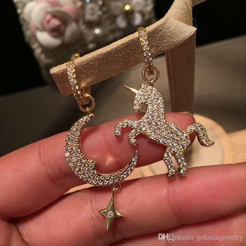 Boucles d'oreilles pour femmes d'été en plaqué or jaune CZ Moon Horse pour filles Filles pour cadeau de mariage pour ami