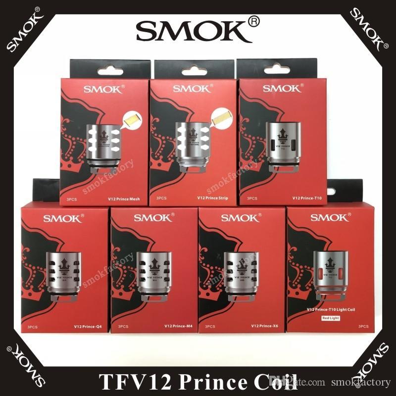Vape smok TFV12 Prince coil q4 m4 x6 t10 المزدوج الثلاثي ماكس شبكة قطاع x2 كلابتون استبدال لفائف 3 قطع لكل حزمة 100٪ الأصلي