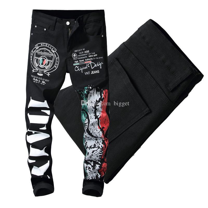 Européen Américain Numérique 3D Imprimer Lettres Jeans Graphique Mode Homme Stretch Denim Noir Pantalon Casual