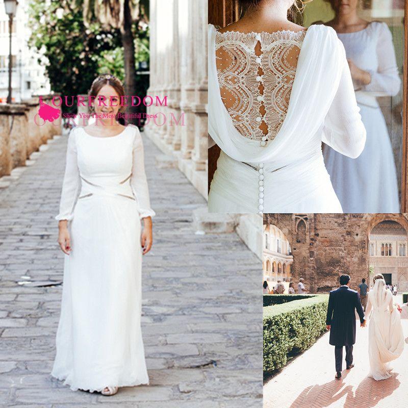 2020 gasa con Encanto Bateau escote de manga larga vestidos de novia de encaje con una línea de longitud de jardín de la iglesia vestido de novia por encargo