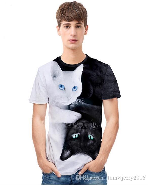 2020 été nouveau commerce extérieur européen et de la rue américaine de la jeunesse marque mince chat noir et blanc créatif hommes mode d'impression 3D s T-shirt