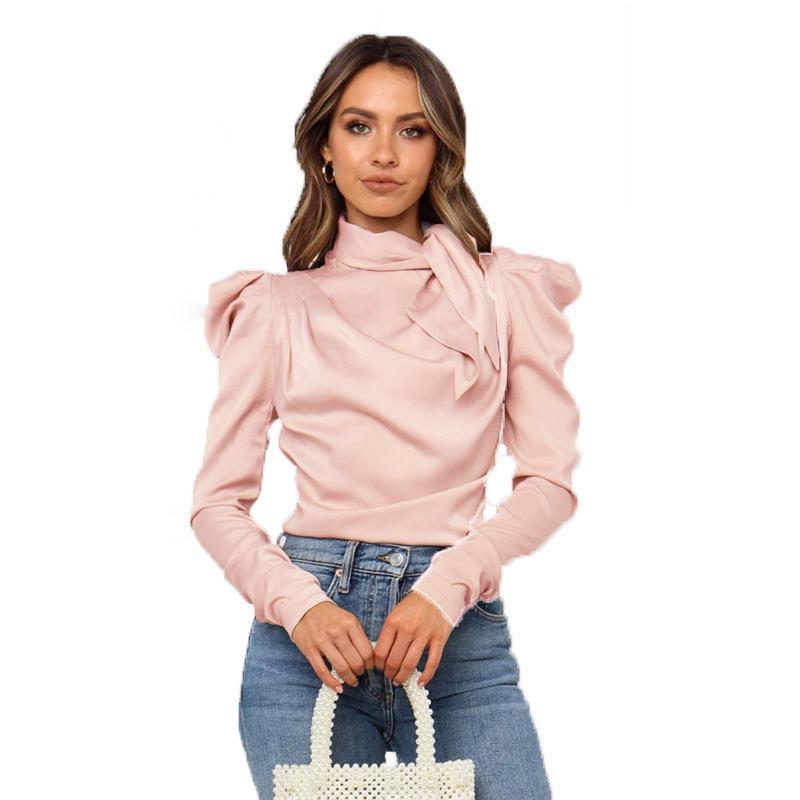 Women Satin Blouses Fashion Bow Neck Long Puff Sleeve Black Elegant Shirt Office Lady Classic Blusas Chemise Femme tops