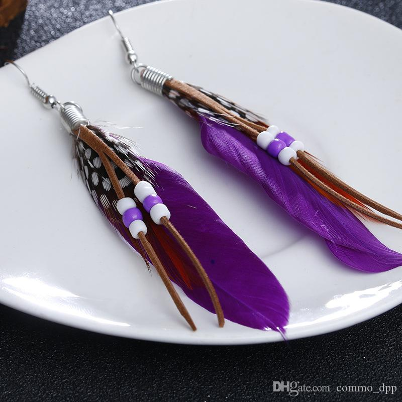 Colorful Bohemian Feather Dangle Drop Earring Gifts for Women Girls Jewelry000001001538