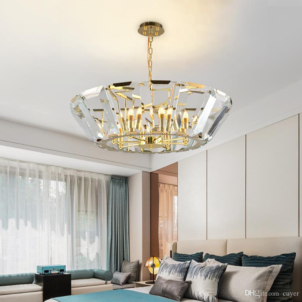 Luxuxkristallleuchter Beleuchtung Wohnzimmer Lobby Wohnzimmer Schlafzimmer Kegelform Suspension Hängelampe Glanz de cristal