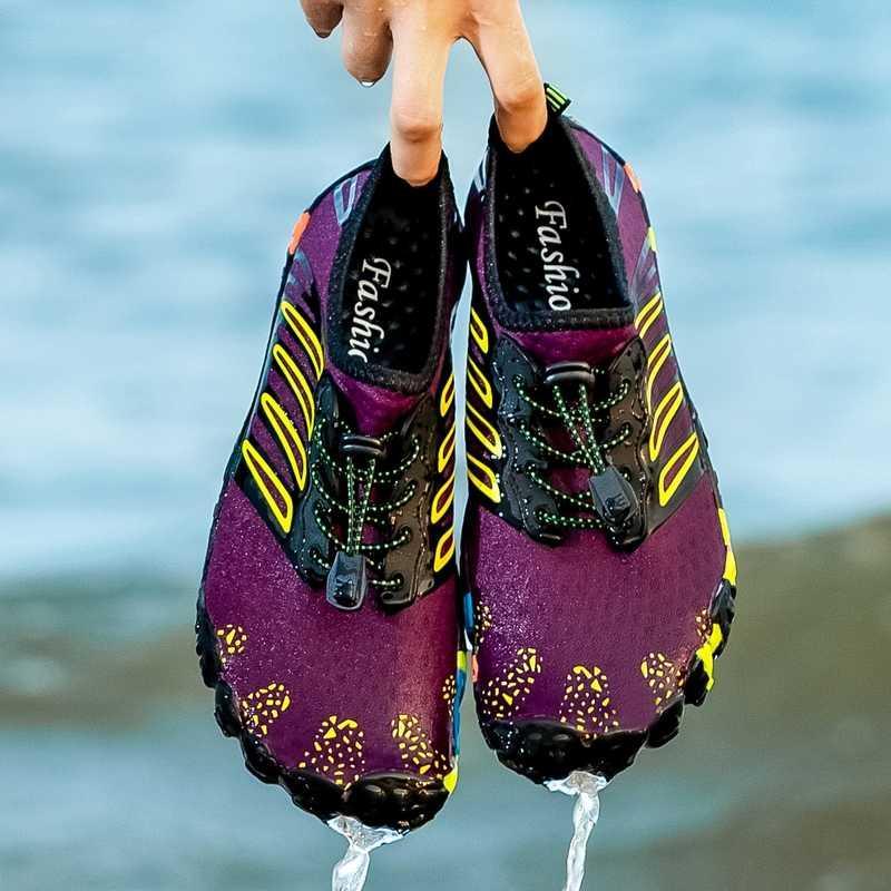 Nefes Aqua Ayakkabı Yüzme Suyu ayakkabı erkekler Düz Ayakkabı Açık Sahil Parmaklar Sneakers Erkek Memba Yürüyüş Mesh