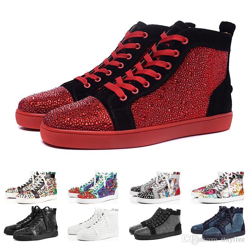 2019New Luxury Designer Fashion Designer Marque clouté Spikes chaussures Flats Rouge Bas Chaussures CASUAL pour hommes, femmes Parti véritable Sneake en cuir