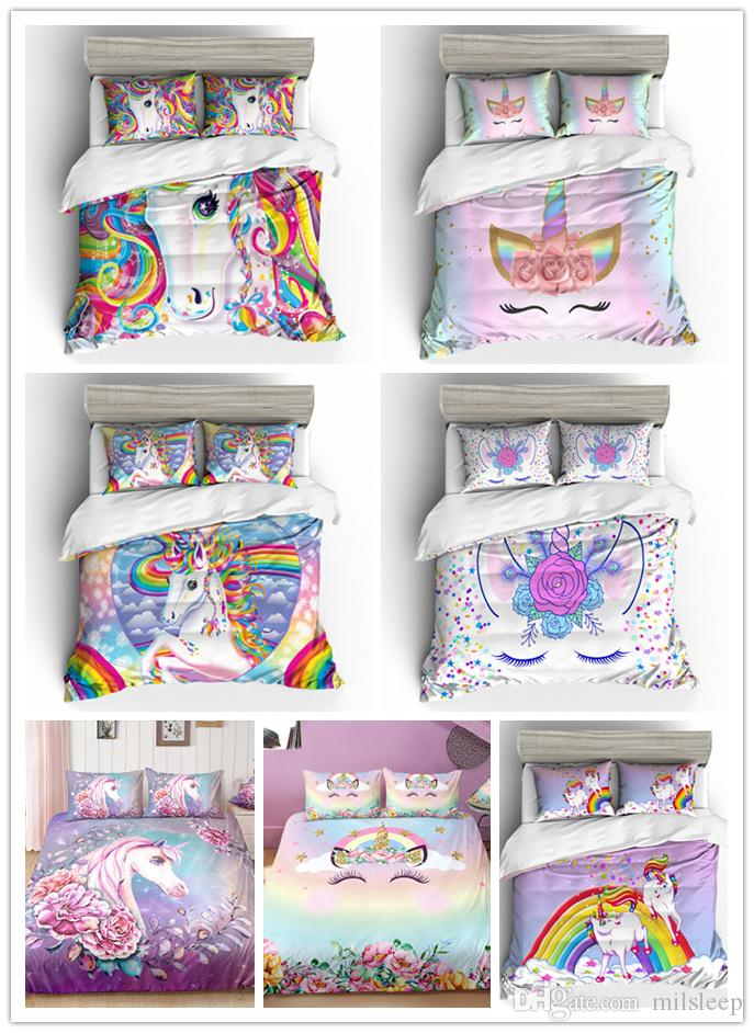 Fashion cute pink unicorn bedding sets for girls with pillowcases single double queen king sizes