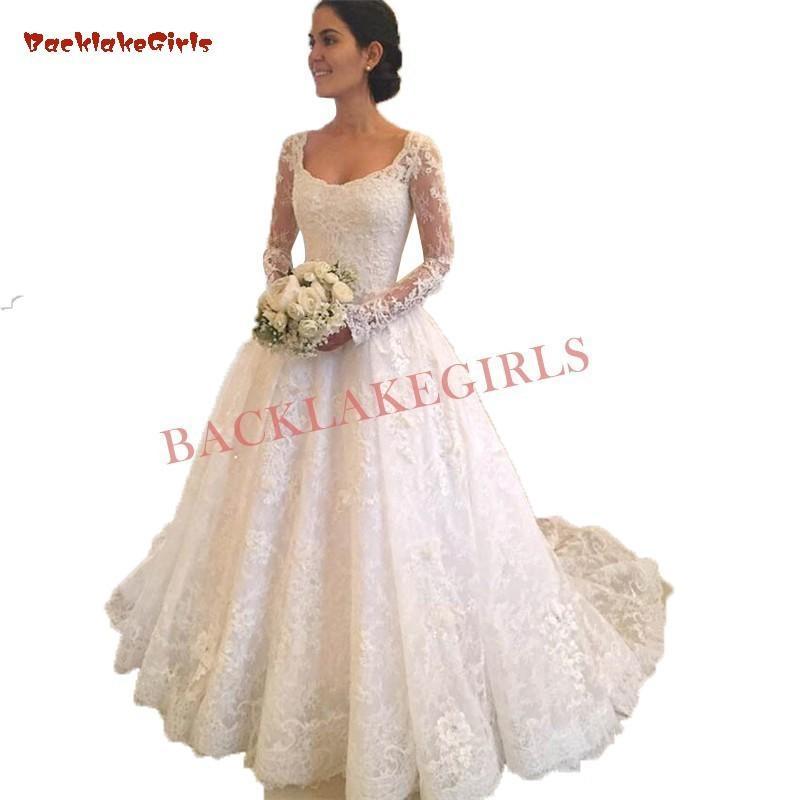 A linha de Manga Comprida Lace Beading Luxo Formal Vestidos De Casamento Da Noiva 2019 New Fashion Wedding Gown Custom Made