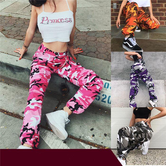 Calças Mulheres Camuflagem Carga High Street soltos Esporte Casual Calças Famale Moda Harem Pants