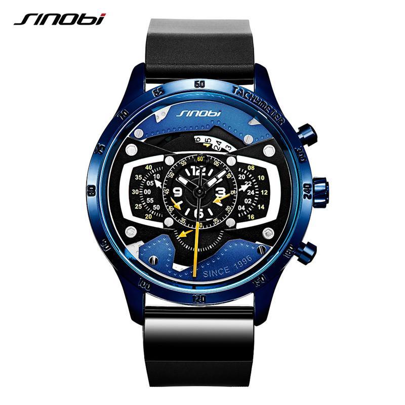 Часы синоби мужские часы авто часы творческие часы для мужчин повседневная мода скорость гоночный спортивный хронограф Силиконовый кварцевые часы