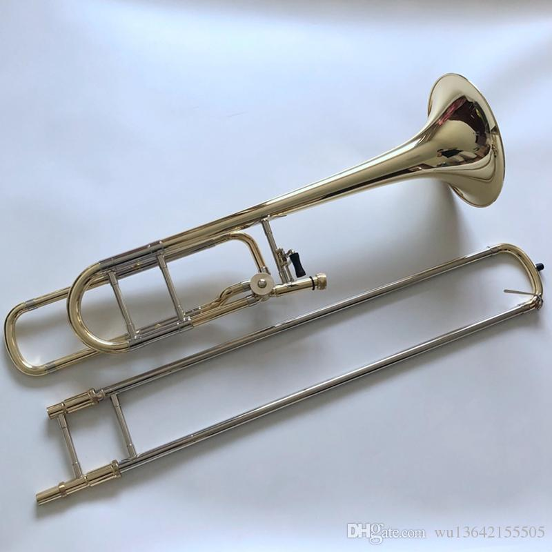 High Quality Bach B/F Tenor Trombone Phosphor bronze lacquered gold Musical instrument with Accessories Free Shipping