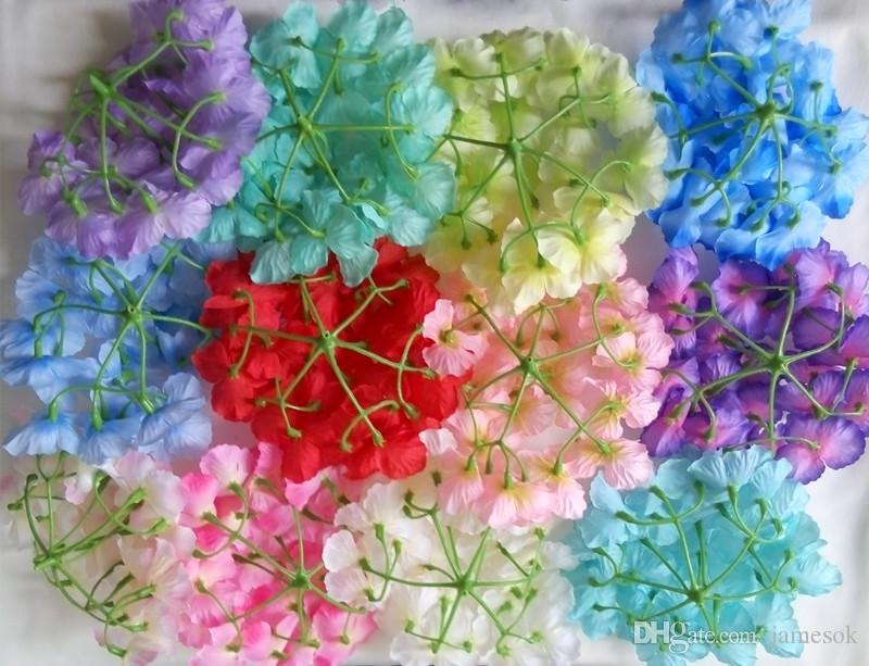 Jefes de flores artificiales del Hydrangea decoración de la boda de fiesta falso Simulación Cabeza de flor decoraciones caseras dc268