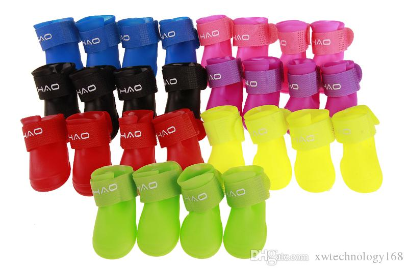 1 Set Popular New Candy Color Pet Rain Shoes Waterproof Dog Boots Outdoor Running Rain Shoes Boots