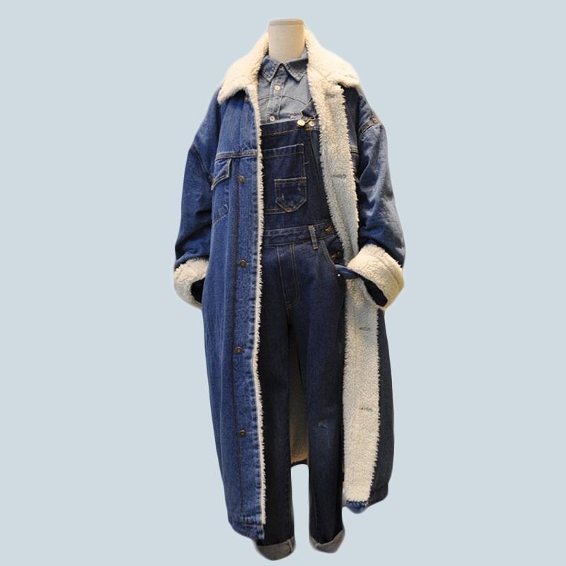 Пальто теплый подкладку джинсовая плоская кнопка бомбардировщик куртка теплые джинсы женские куртки с полной зимней меховой фронт женщин длинные карманы wqsff