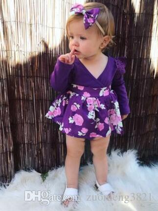 Abiti floreali per ragazza Tute viola a maniche lunghe + fascia 2 pezzi Vestiti per ragazze Vestito scollo a V neonato Pagliaccetto del bambino