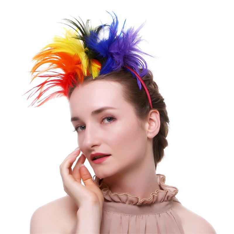 Mujer Pluma Pelo Aro Novia Banda para la cabeza Fiesta reutilizable Sombrero formal Sombrero Opp Paquete con alta calidad 14dx J1