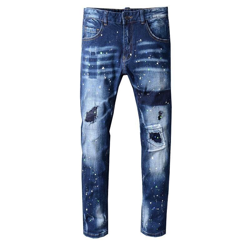 New Mens Jeans Distressed Ripped Biker Jeans Slim Fit Motorcycle iker Denim Jeans 2019 Fashion Stylist Pants