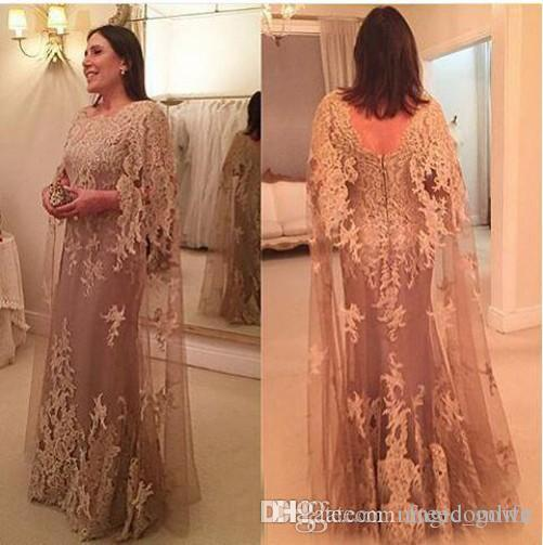 2019 Novo Designer de Champagne Plus Size Sereia Mãe de Vestidos de Noiva Watteau Trem de Renda Applique Vestidos Formais Vestidos de Noite de fête