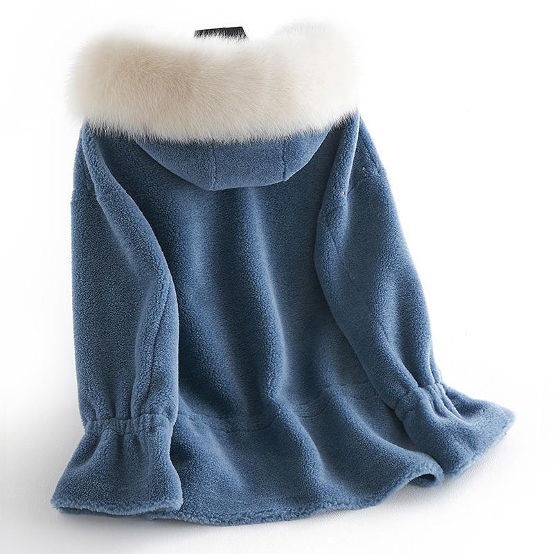 Autumn Winter Jacket Women Clothes Korean Fox Fur Hooded Real Fur Coat Sheep Shearling 100% Wool Coat Suede Lining ZT1366