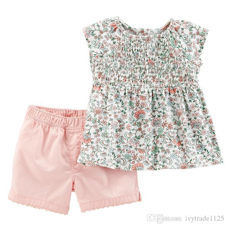 diseñador de ropa de bebé niña niños conjunto conjuntos mangas 100% de la muchacha del verano de algodón completa arco iris de flores camiseta + los niños cortos conjuntos de ropa