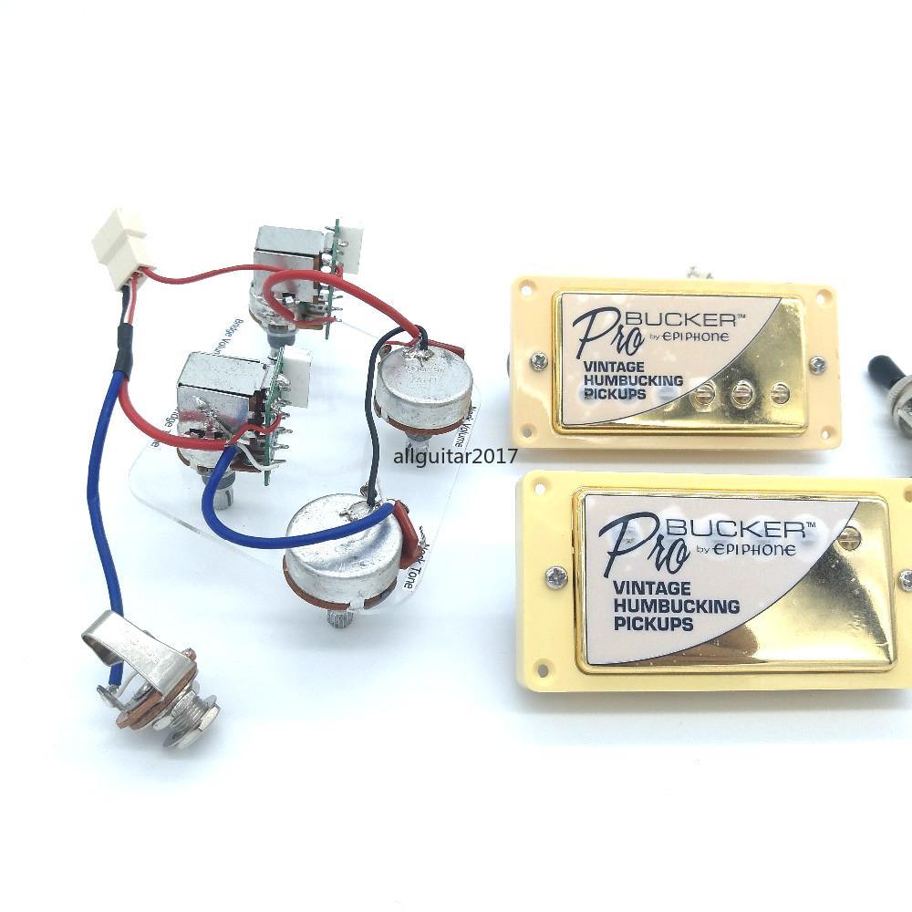 نادر الذهب ألنيكو 5 الكتريك جيتار بيك آب Humbucker بيك أب الذهب 4C مع وظيفة دفع سحب + أسلاك اللجام