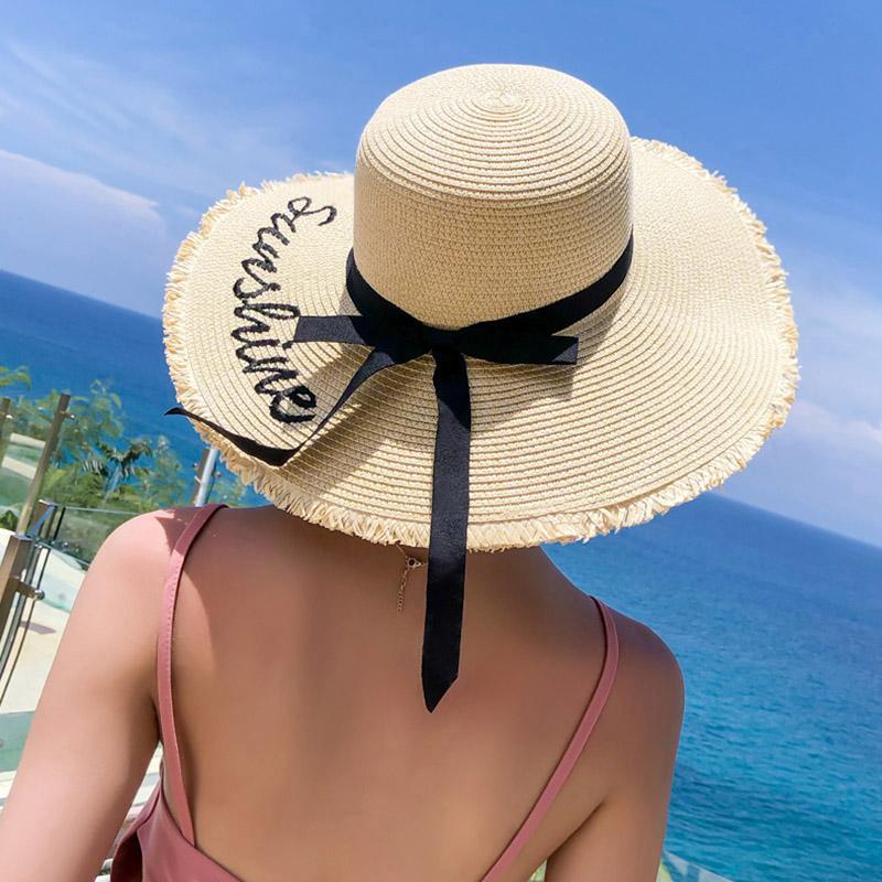الصيف التطريز قبعة من القش أزياء المرأة على نطاق واسع بريم وقاية من الشمس شاطئ هات قابل للتعديل مرن طوي قبعات السيدات لاكسسوارات حريمي