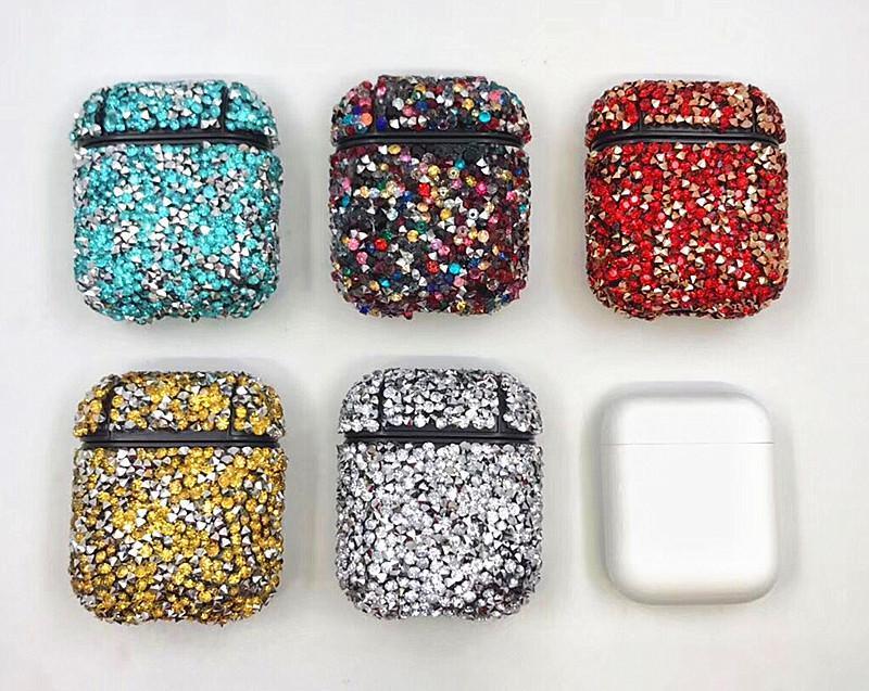 الماس Airpod حالة بلينغ سماعة غطاء كامل حامي حقيبة لأبل بلوتوث اللاسلكية شحن سماعة مع صندوق البيع بالتجزئة