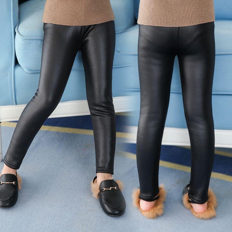 Девушки кожаные штаны осень и зима Новый Дети Плюс бархатные штаны девушки гетры младенца носить брюки гетры колготки