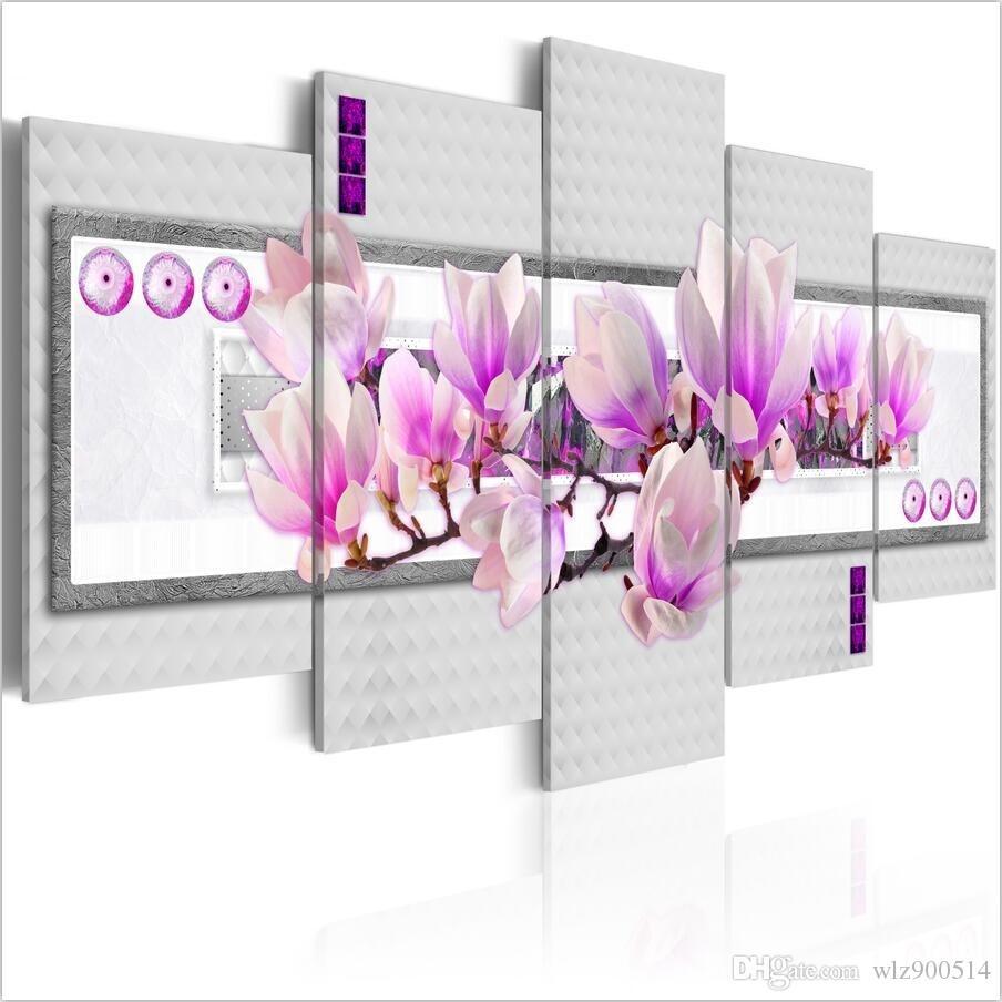 HD Мода (Без Рамки) 5 Шт. / Компл. Современный Плакат Фиолетовый Цветок Магнолии Принт Безрамное Живопись на Холсте Настенные Панно Украшения Дома