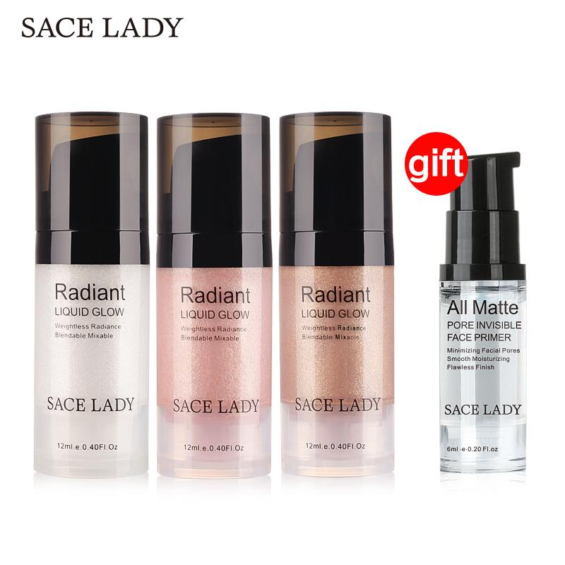 Buy 3 Get 1 Gift Sace Lady Face Highlighter Cream Illuminator Makeup Facial Brighten Liquid Shimmer Make Up Cosmetic