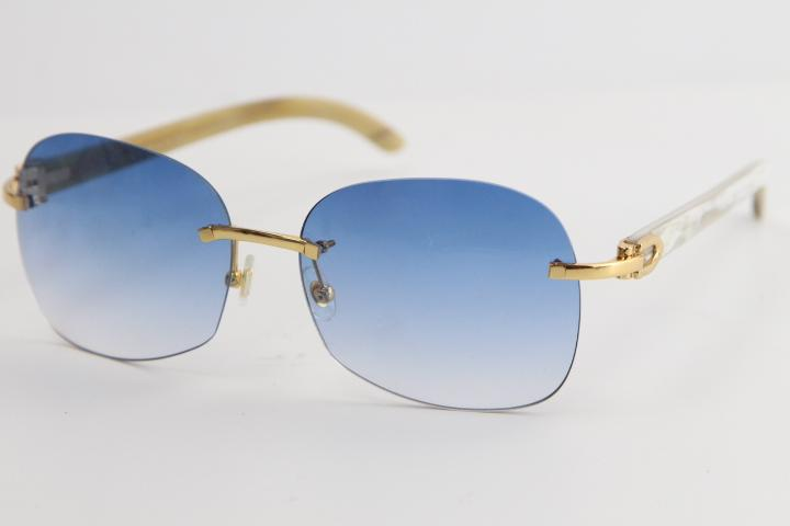 무테 Sun은 8,100,908 화이트 정품 자연 혼 골드 메탈 프레임 선글라스 패션 높은 품질 물소 뿔 선글라스 안경 판매