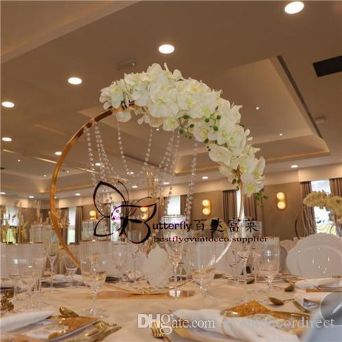 Circle Round Flower Stand Gold Metal Floral Vase Rack Decorative Flower Arrangements Holder Wedding Decoration Table Centerpiece