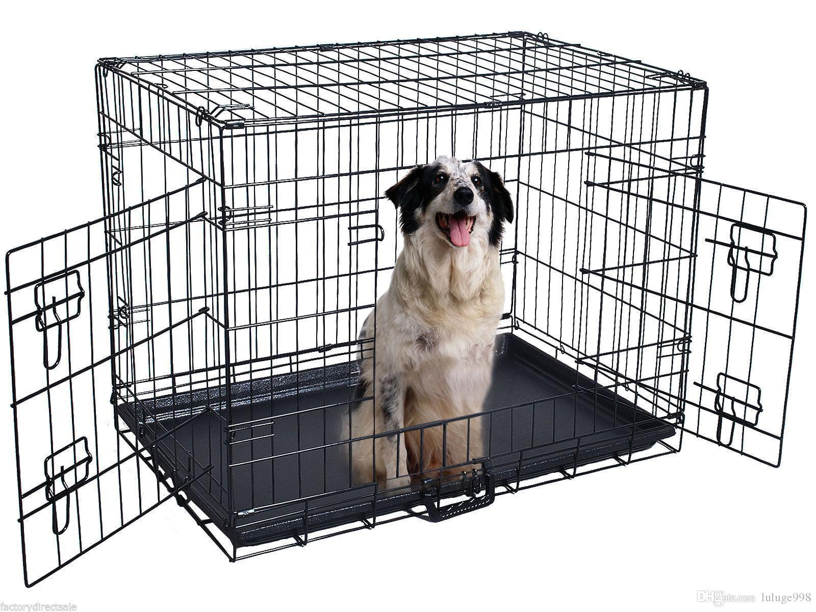 42'' 2 Doors Wire Folding Pet Crate Dog Cat Cage Suitcase Kennel Playpen w/ Tray