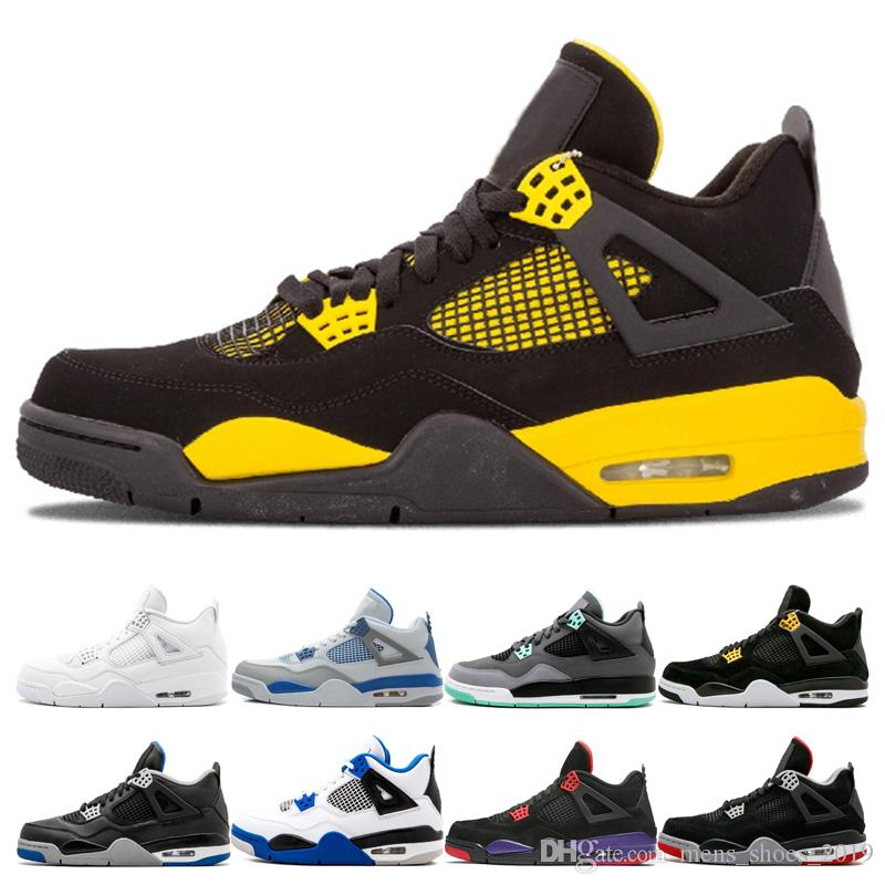 Top 4 4s Hombres Thunder Basketball Shoes Designer Alternate 89 Alternate Motorsport Black Cat CAVS Bred Raptors Zapatos con dinero puro Zapatillas deportivas