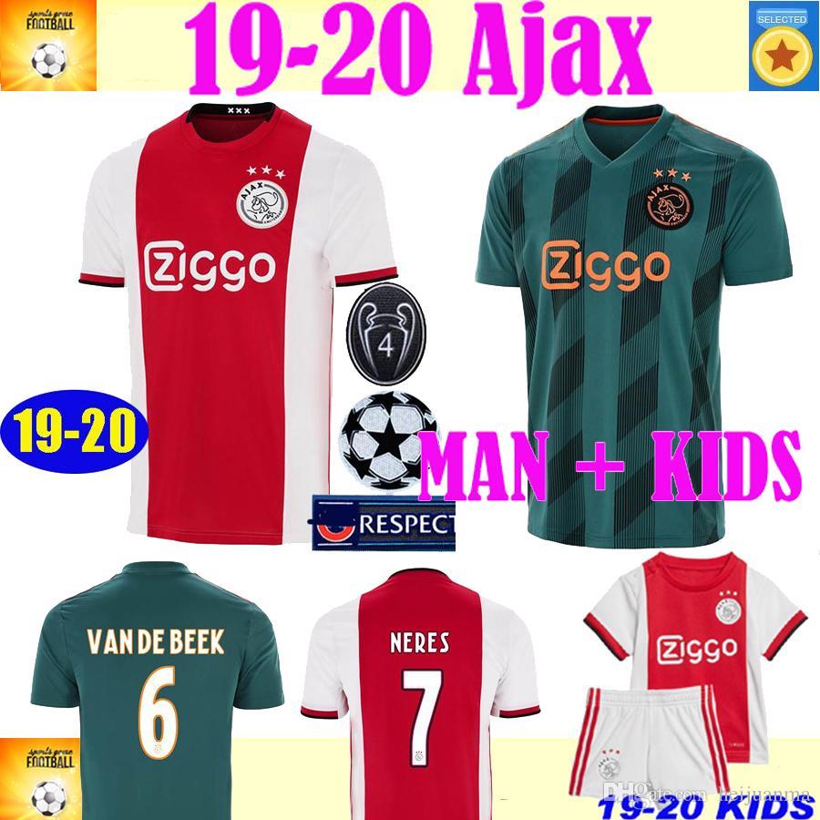 2020 Ajax FC champions league Soccer Jerseys home away Shirts 19 20 TADIC ZIYECH DE JONG football Kids Youth women football shirt Uniform