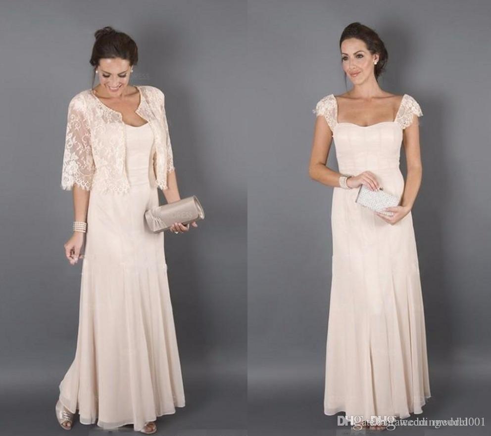 Элегантный цвет шампанского с куртками Платья для матери невесты Формальная крестная женская одежда Вечернее свадебное платье для гостей Плюс размер