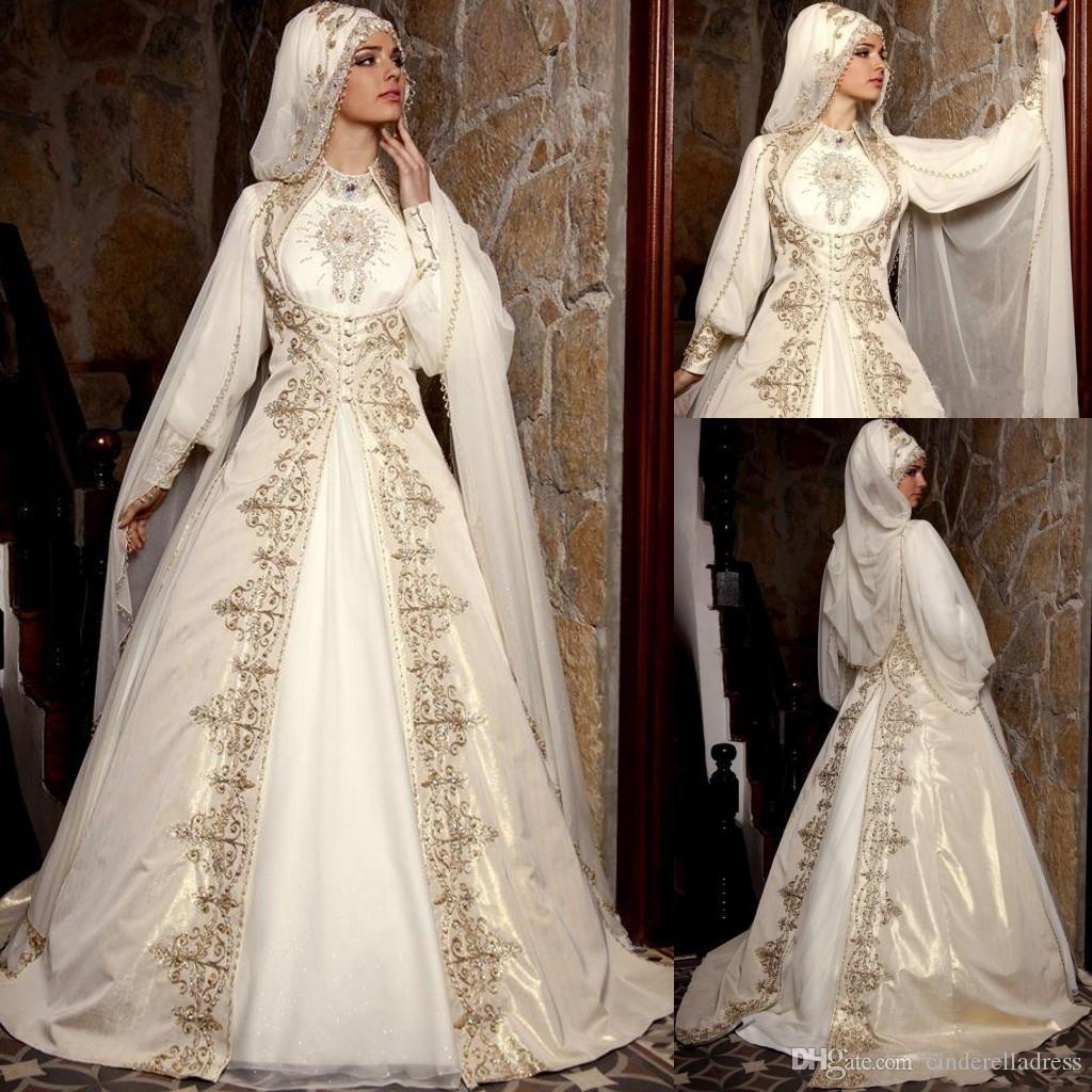 2020 Modest Arapça Müslüman Gelinlik ile Uzun Kollu Yüksek Boyun Altın Nakış Boncuk Lüks Gelin Balo ile Cloak