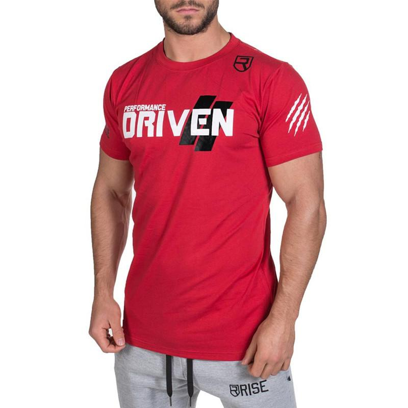 Uomini Palestre Sport Estate Running Training T-shirt Camicie fitness Bodybuilding cotone Outdoor Sportsware Breve Tees Tops Clothes