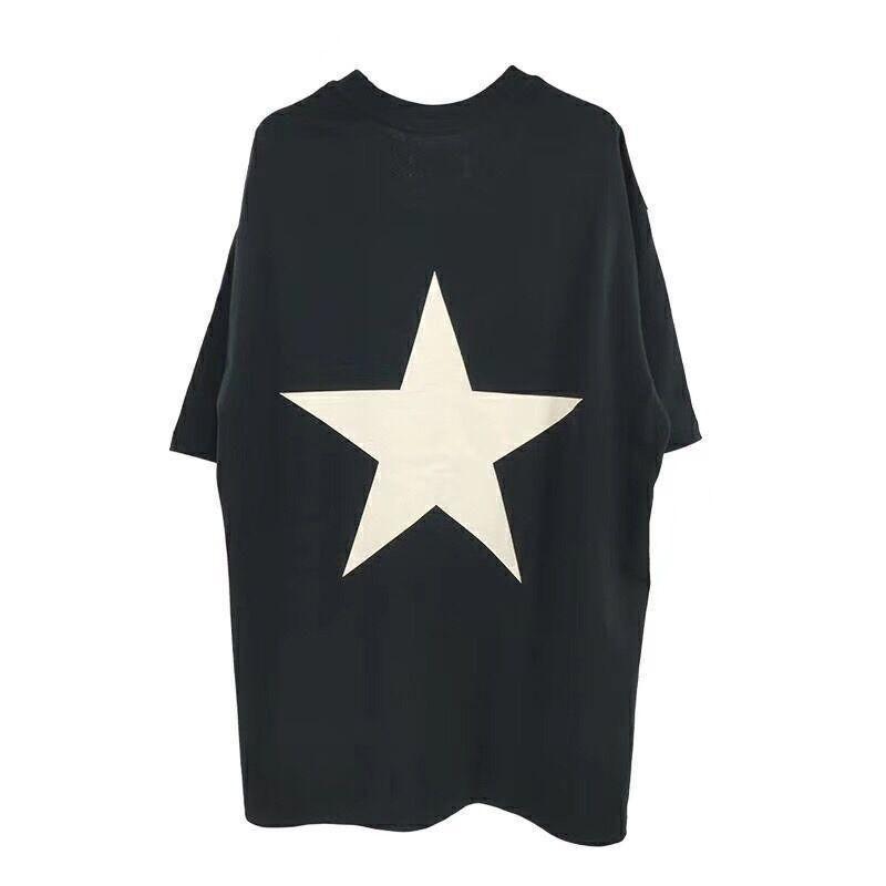 2020 18SS FOG ESSENTIALS logotipo da estrela camiseta homens casal mulheres Summer Street Logo Imprimir manga curta Casual Tee FSA110