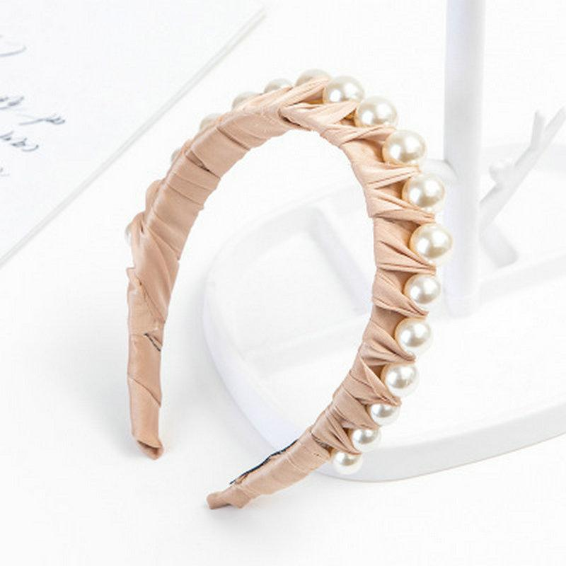 Personalisierte Stirnband mit Perle One Side Hair Style mit Stirnband-Alice-Band Cerchietto Haarreif Gummihaarbänder comecase ZYdOH