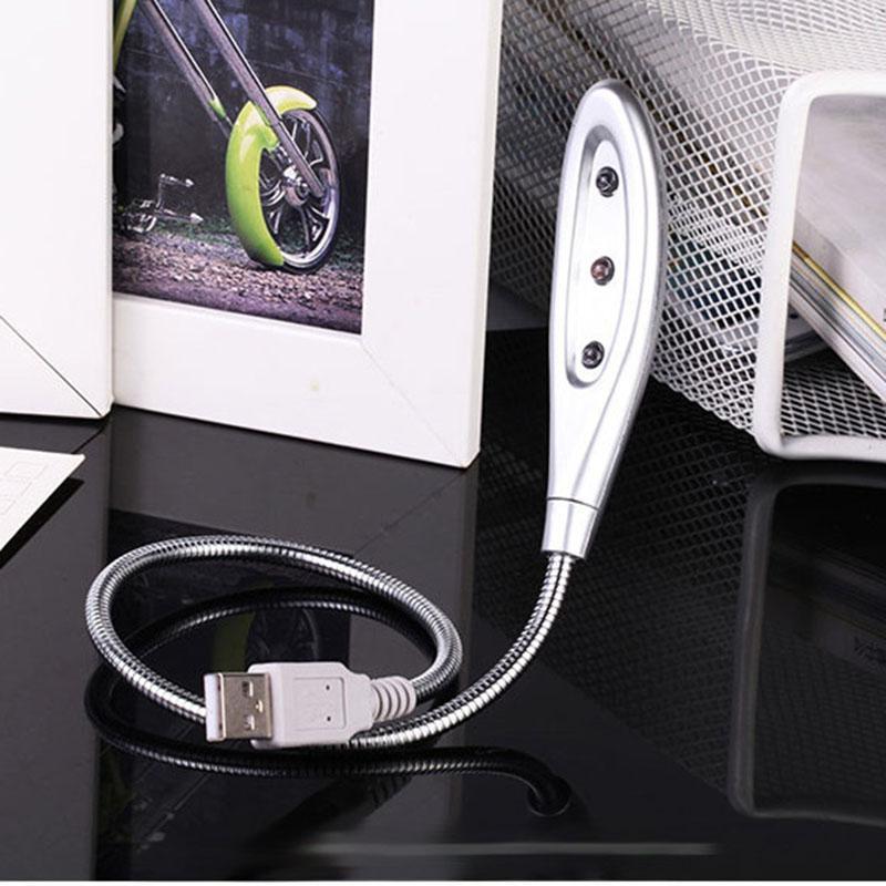 5 pçs / lote portátil criativo usb gadgets de alta luminosidade lâmpada led flexível gooseneck usb lâmpada de leitura com 3 luzes led