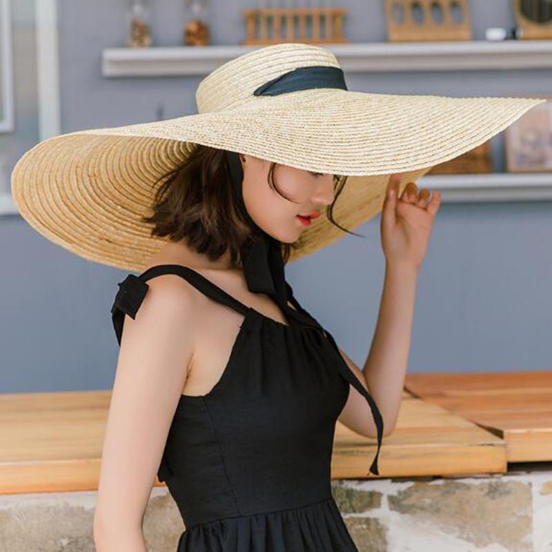 2019 여성 천연 라 피아 밀 짚 모자 리본 넥타이 15cm 가장자리 모자 더비 비치 태양 모자 모자 여름 넓은 연 자외선 보호 모자 여성 H5