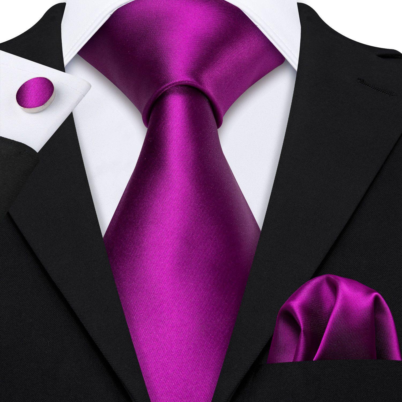 Moda Viola Solid Cravatta in seta Set classico all'ingrosso Jacquard Woven cravatta Pochette gemelli matrimoni Business N-5248 Stain Uomo