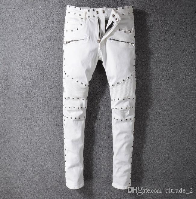 Jeans BLAM skinny demin blanc avec rivet homme en jean de la mode de la rue Jean Ins Jean hip hop chaud Jeans Zipper Fly