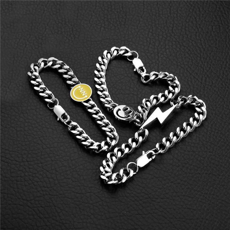 새로운 3 PCS / 남성 티타늄 스틸 쿠바 링크 체인 팔찌 패션 힙합 보석 Bracelers에 대한 설정 웃는 얼굴 팔찌